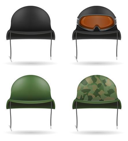 définir des icônes casques militaires vector illustration
