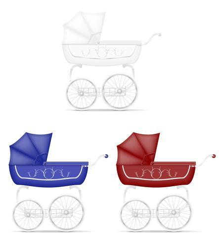 Ilustración de vector stock carro de bebé retro