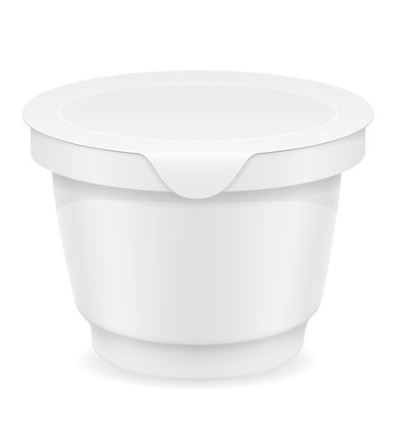 recipiente de plástico branco de ilustração vetorial de iogurte ou sorvete vetor