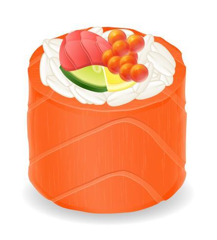 rolos de sushi em ilustração vetorial de peixe vermelho