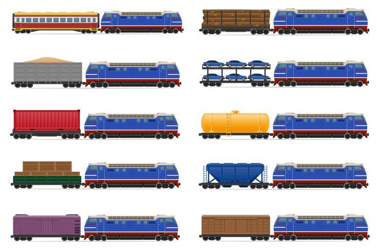 stel pictogrammen spoorwegtrein met locomotief en wagens vectorillustratie