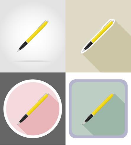 matériel de papeterie stylo set plats icônes illustration vectorielle