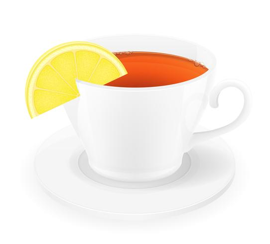 porcelain cup of tea with lemon vector illustration