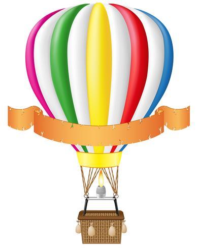 varmluftsballong och blank banner vektor illustration