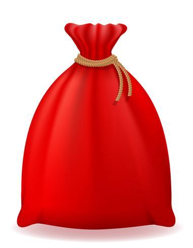 red christmas bag santa claus vector illustration