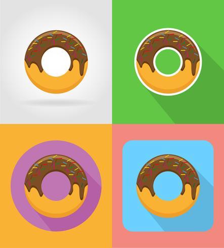 icone piane degli alimenti a rapida preparazione della ciambella con l'illustrazione di vettore dell'ombra