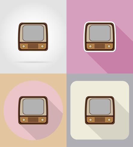 vieux rétro vintage tv icônes plat vector illustration