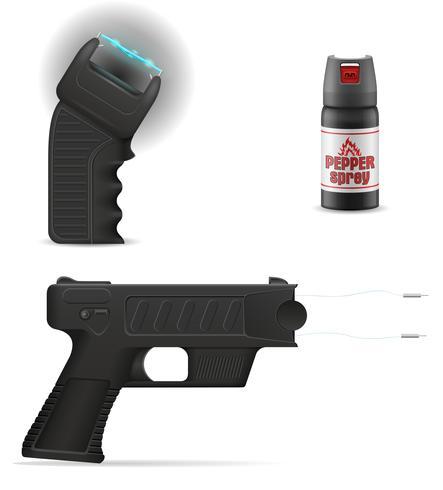 zelfverdedigingswapen om tegen bandietaanvallen vectorillustratie te beschermen