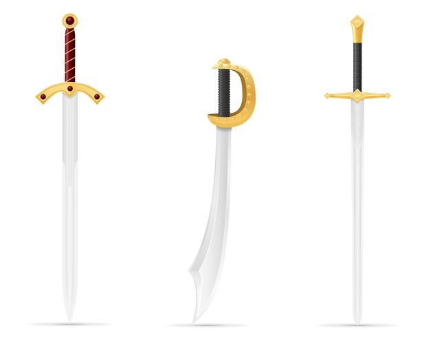 slag svärd medeltida lager vektor illustration