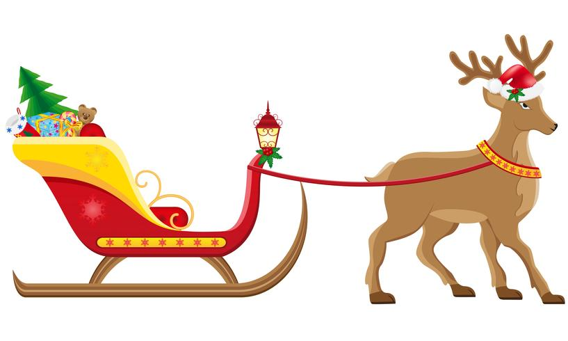 christmassanta sleigh with reindeer vector illustration