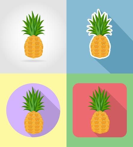 flache flache Ikonen der Ananasfrüchte mit der Schattenvektorillustration