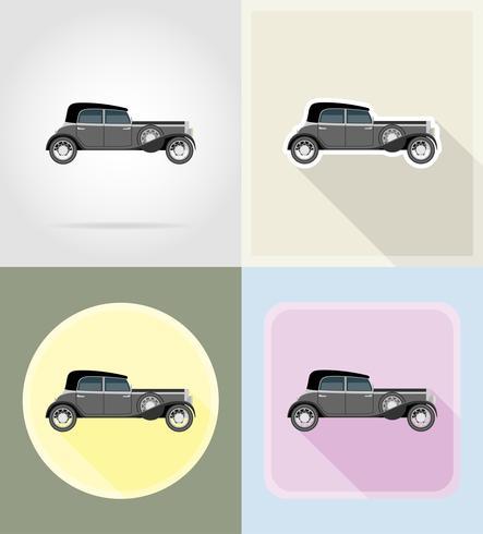 Ikonenillustration des alten Retro- Autos flache