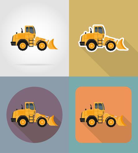 bulldozer para obras rodoviárias planas ícones ilustração vetorial