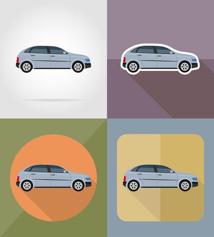 coche transporte iconos planos vector illustration