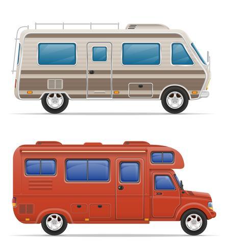 car van camping car caravane avec accessoires de plage illustration vectorielle