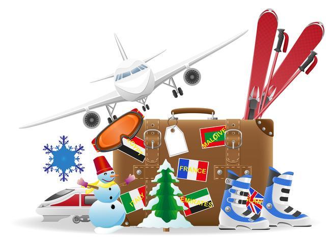 vecchia valigia per il viaggio e gli elementi per un'illustrazione vettoriale di ricreazione invernale