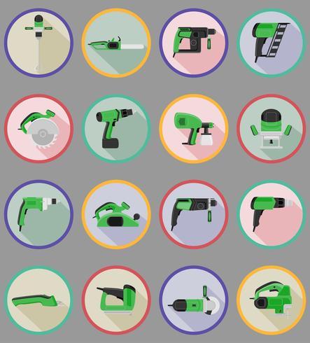 Herramientas eléctricas para la construcción y reparación de iconos planos vector illustration