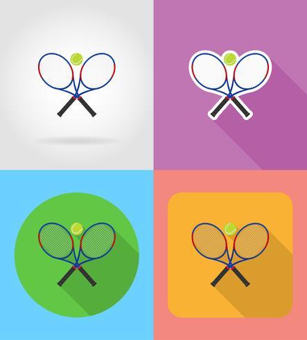 Raqueta de tenis y pelota iconos plana vector ilustración