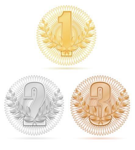illustrazione vettoriale di bronzo argento oro sport vincitore vincitore corona d'oro
