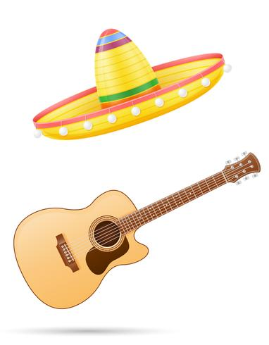 sombrero national mexican headdress and guitar vector illustration