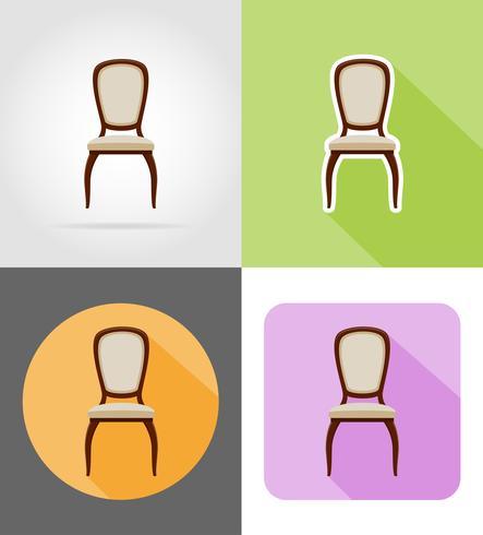 chaise mobilier mis icônes plates illustration vectorielle
