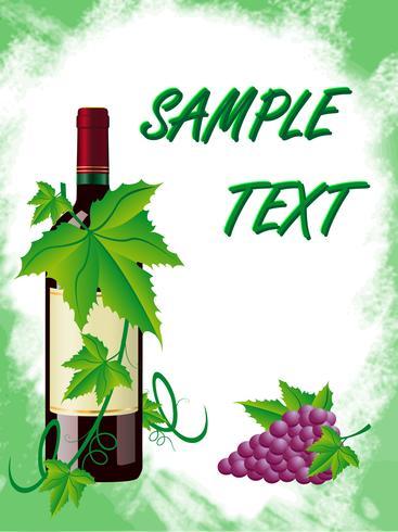 vinho tinto e uvas está em uma moldura verde