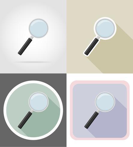 Equipo de papelería lupa establece iconos planos vector illustration