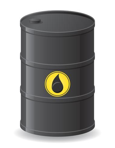 Barril negro para la ilustración de vector de aceite