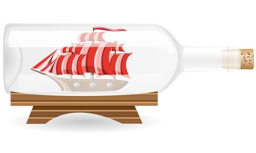 nave en una ilustración vectorial de botella EPS10 vector
