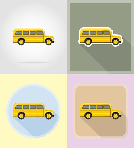 old retro bus flat icons vector illustration