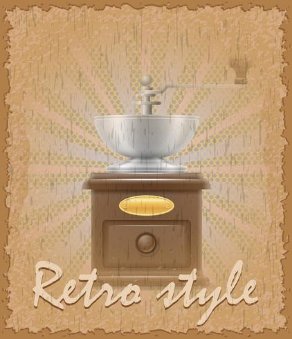 retro style poster old coffee mill vector illustration