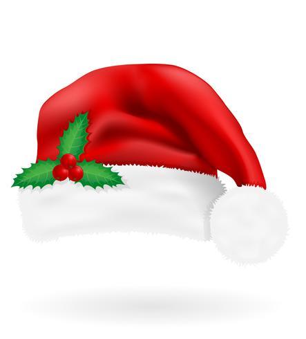 Weihnachtsroter Hut Weihnachtsmann-Vektorillustration
