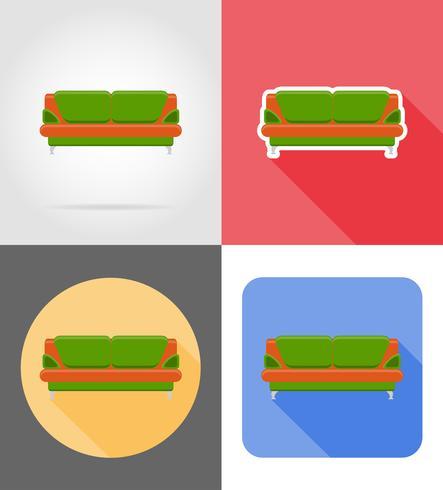 Ikonen-Vektorillustration der Sofamöbel gesetzte flache