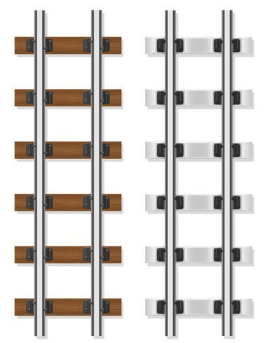 trilhos de trem de madeira e concreto travessas ilustração vetorial
