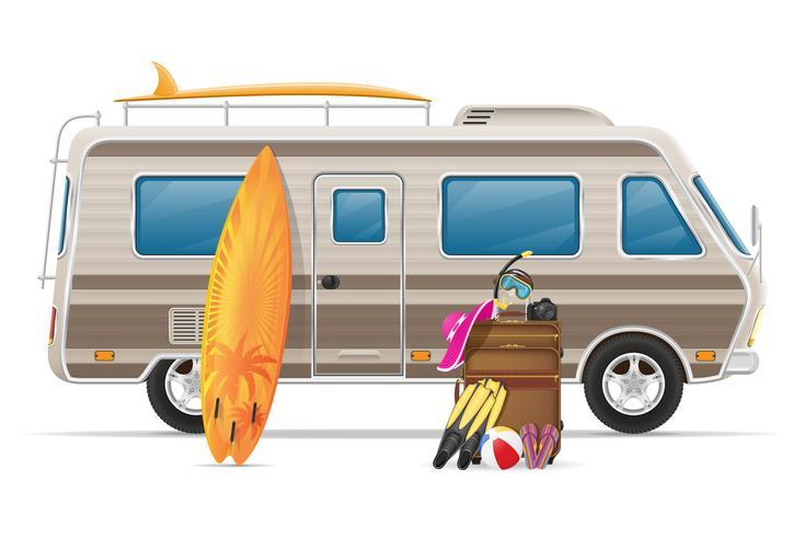 Car van caravana autocaravana casa móvil con accesorios de playa vector illustration