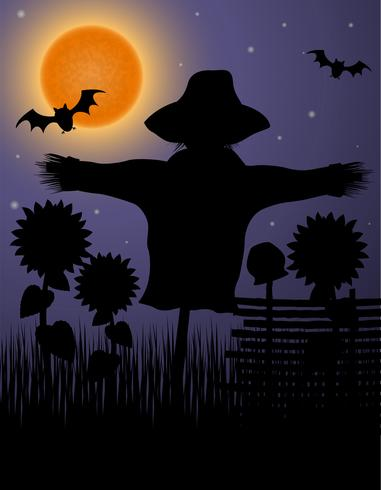 scarecrow black silhouette in the night sky and the moon vector