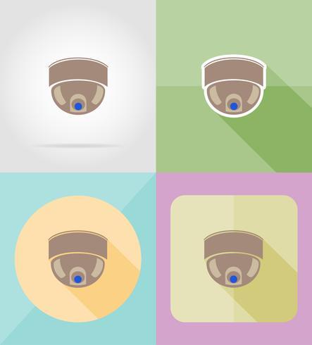 Videoüberwachungskamera für flache Ikonen des Designs vector Illustration