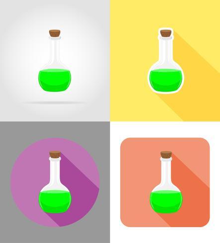 glazen reageerbuis plat pictogrammen vector illustratie