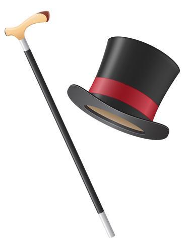 chapeau cylindre et illustration vectorielle de bâton de marche