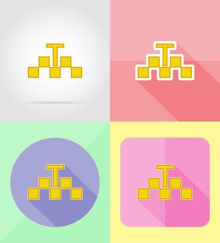 taxi service plat pictogrammen vector illustratie