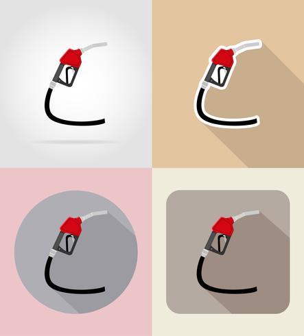 Ilustración de vector de iconos planos de boquilla de bomba de gasolina