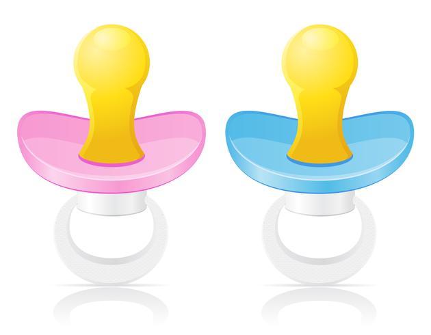 ilustração em vetor rosa e azul chupeta babys