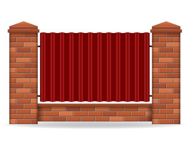 brick fence vector illustration