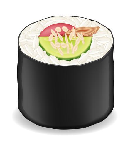 Rolos de sushi em ilustração vetorial de algas nori