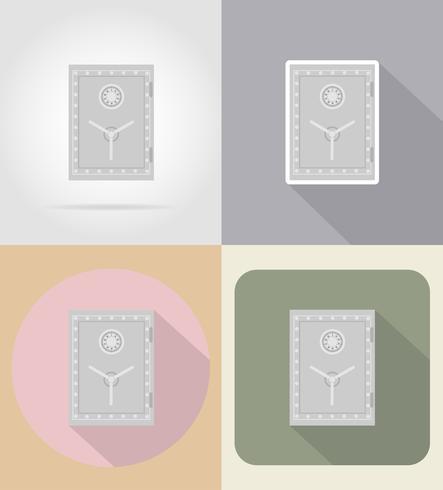 Caja fuerte con iconos de cerradura de combinación plana ilustración vectorial