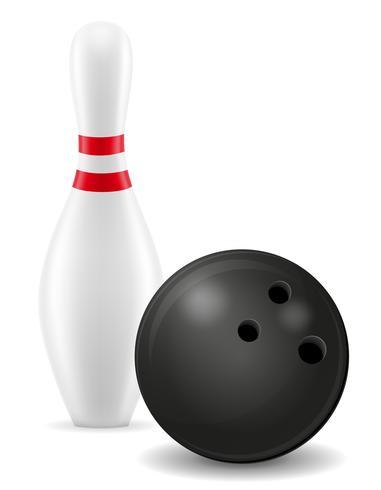 boule de bowling et illustration vectorielle broche