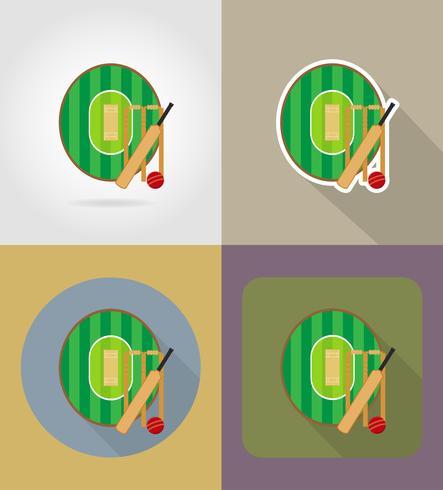 zona de juegos para los iconos planos de cricket vector illustration