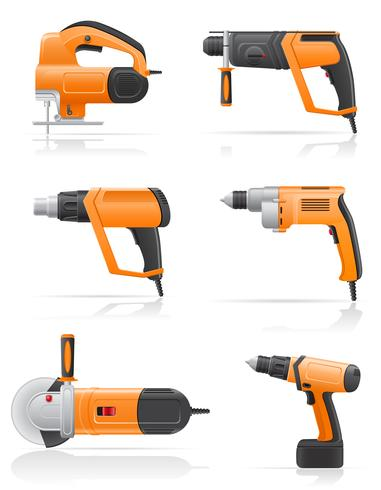 electric tools set icons vector illustration