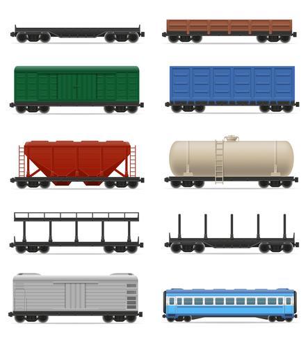 set icons railway carriage train vector illustration