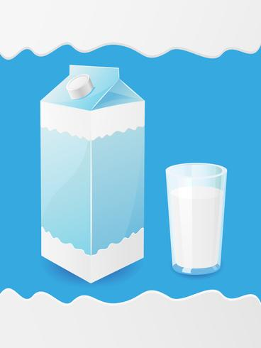 milk is in a package and glass